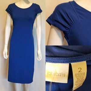 CHICO'S Royal Blue Knee Length Casual Work Dress